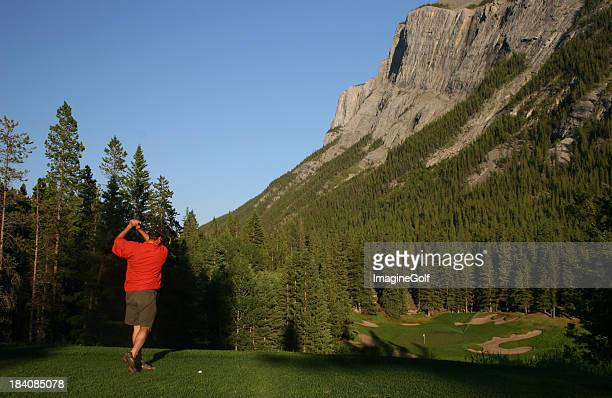 golf in the canadian rockies - banff springs golf course stock photos and pictures