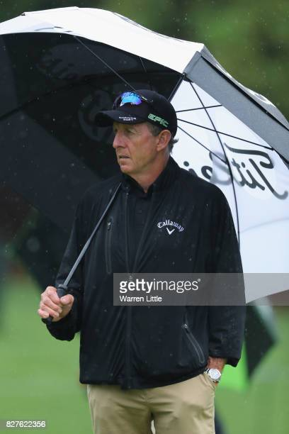 Golf instructor David Leadbetter is seen during a practice round prior to the 2017 PGA Championship at Quail Hollow Club on August 8, 2017 in...