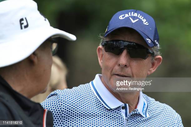 Golf instructor David Leadbetter looks on during a practice round prior to the Masters at Augusta National Golf Club on April 09, 2019 in Augusta,...