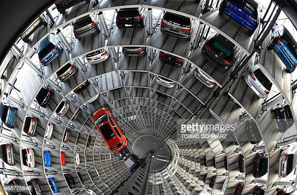 Golf is pictured inside the so-called cat towers of car manufacturer Volkswagen AG at the company's assembly plant in Wolfsburg, northern Germany on...
