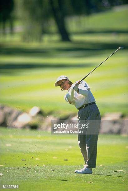 Golf: JAL Big Apple Classic, Caroline Pierce in action, drive on Friday, New Rochelle, NY 10/4/1996