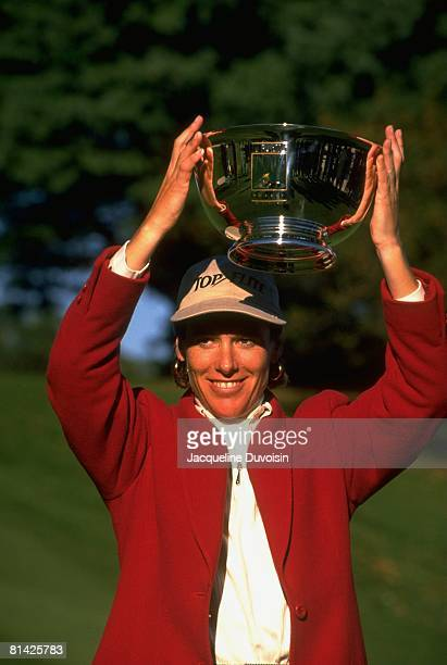 Golf JAL Big Apple Classic Closeup of Caroline Pierce victorious with trophy after winning tournament on Saturday New Rochelle NY 10/5/1996