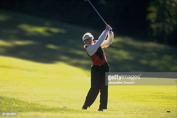 Golf JAL Big Apple Classic Vicki Goetze in action drive on Friday New Rochelle NY 10/4/1996