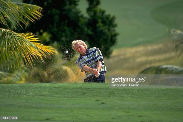 Golf: Johnnie Walker World Championship, Greg Norman in action from sand during tournament at Tryall GC, Hanover, Jamaica --