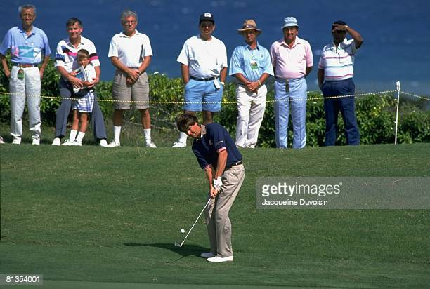 Golf Johnnie Walker World Championship Paul Azinger in action chip during tournament at Tryall GC View of fans in gallery Hanover Jamaica