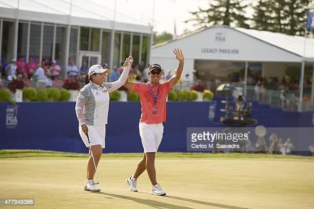 Womens PGA Championship: Inbee Park victorious with her husband and coach Gi Hyeob Nam after winning tournament on Sunday at Westchester CC....