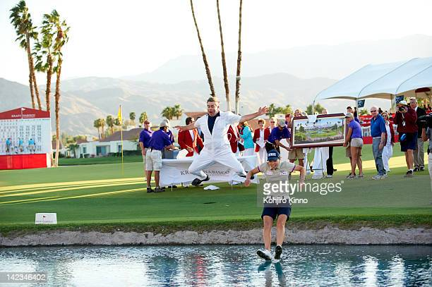 Kraft Nabisco Championship South Korea Sun Young Yoo and caddie Adam Woodward victorious jumping into pond after winning playoff on Sunday at Mission...