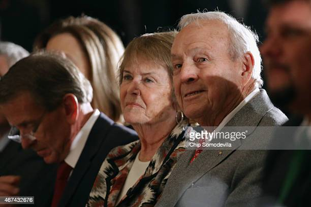 Golf legend Arnold Palmer and his wife Kathleen Gawthrop attend fellow golf champion Jack Nicklaus' Congressional Gold Medal ceremony in the US...