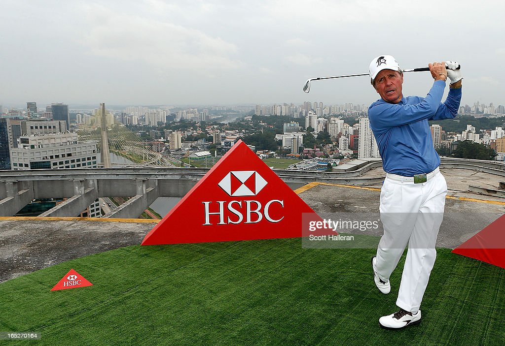Golf legend Gary Player takes a swing on the rooftop of an office building prior to the start of the Brasil Classic Presented by HSBC on April 2, 2013 in Sao Paulo, Brazil.