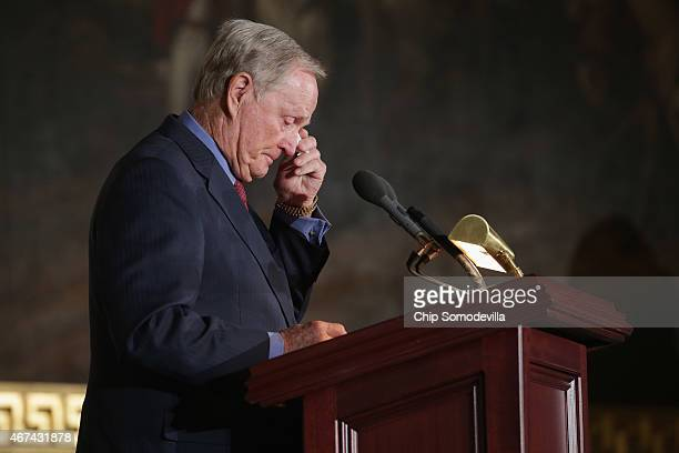 Golf legend Jack Nicklaus delivers remarks after acepting the Congressional Gold Medal during a ceremony in the US Capitol Rotunda March 24 2015 in...