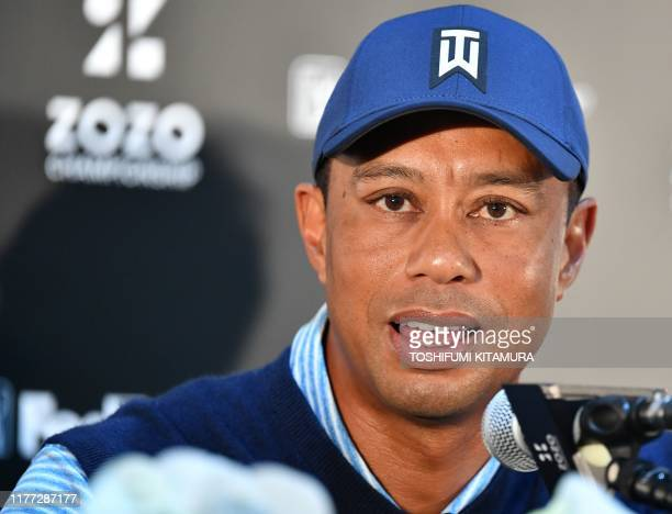 US golf legend Tiger Woods attends a press conference for the PGA golf tour ZOZO championships in Narashino Country Club in Inzai city Chiba...