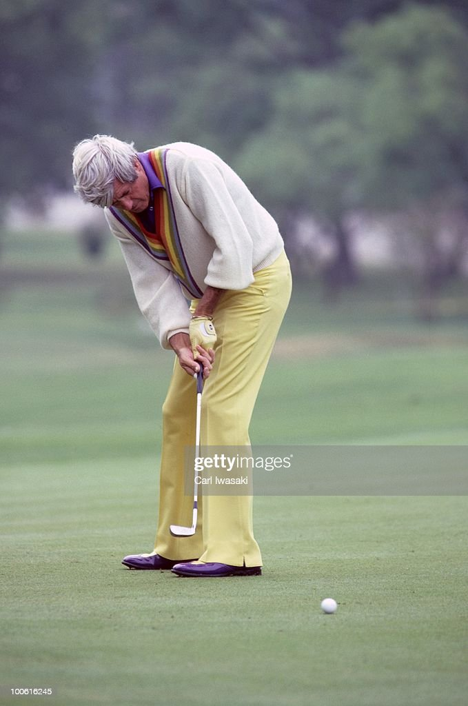 Doug Sanders in action, putt during tournament at Onion Creek Club. Senior Tour. Austin, TX 5/2/1984