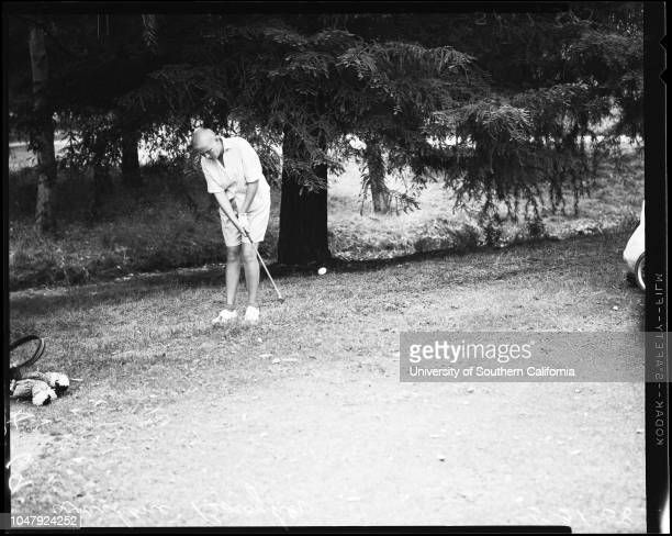 Golf Los Angeles women's city championship 21 May 1958 Sheila MossJean DamerelDarlene BoughnerRuth Miller Jensen negatives 'Sports' Caption slip...