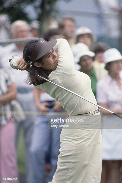 Golf LPGA Championship Closeup of Nancy Lopez in action drive on Thursday at Jack Nicklaus GC Kings Island OH 6/8/1978