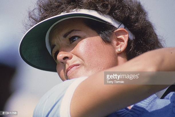 Golf LPGA Championship Closeup of Nancy Lopez in action from sand on Friday at Jack Nicklaus GC Kings Island OH 6/2/1985