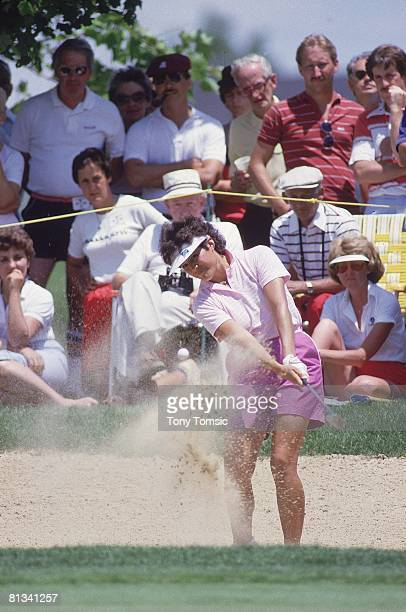 Golf LPGA Championship Nancy Lopez in action from sand on Thursday at Jack Nicklaus GC Kings Island OH 6/1/1985