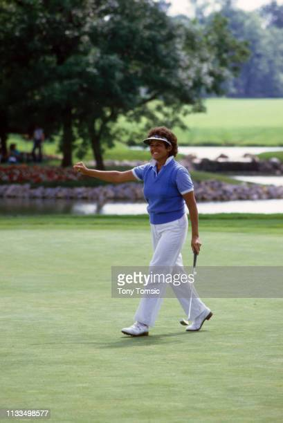 LPGA Championship Nancy Lopez victorious after sinking putt during Sunday play on the Grizzly Course at Jack Nicklaus Golf Center at Kings Island...