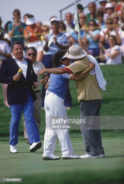 LPGA Championship Nancy Lopez victorious hugging caddie Jerry Dee Darden after winning tournament during Sunday play on the Grizzly Course at Jack...