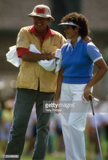 LPGA Championship Nancy Lopez vlooking on with caddie Jerry Dee Darden during Sunday play on the Grizzly Course at Jack Nicklaus Golf Center at Kings...