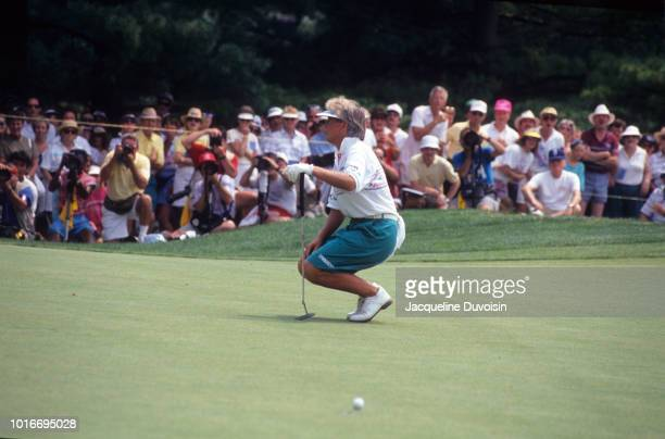 LPGA Championship Pat Bradley in action reacting to missed putt during Sunday play at Bethesda Country Club Bethesda MD CREDIT Jacqueline Duvoisin