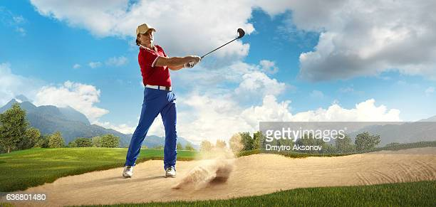 golf: man playing golf in a golf course - aiming stock pictures, royalty-free photos & images