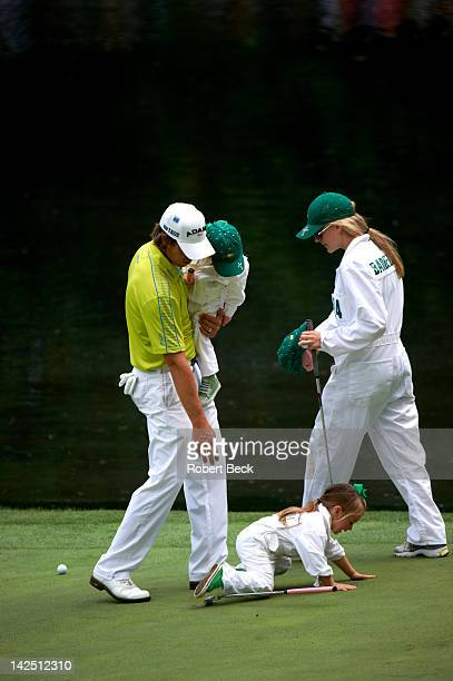Masters Preview Aaron Baddeley with his wife Richelle and daughters Jewell and Jolee during Par 3 tournament on Wednesday at Augusta National Augusta...