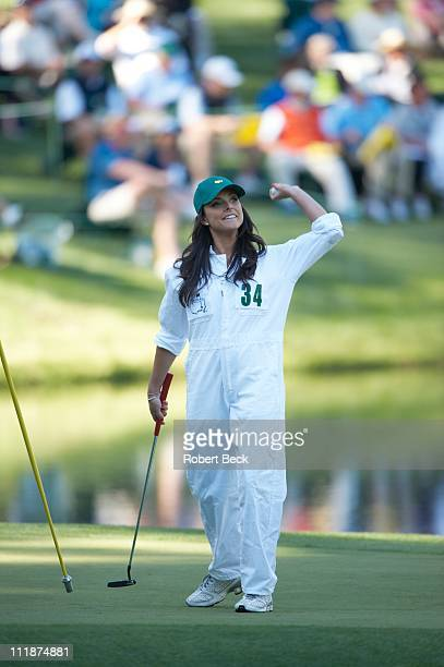 Masters Preview Amber Watney wife of Nick Watney during Par 3 Contest on Wednesday at Augusta National Augusta GA 4/6/2011CREDIT Robert Beck