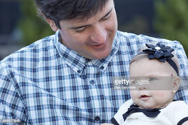 Masters Preview: Closeup portrait of Bubba Watson with his daughter Dakota during photo shoot at Isleworth G&CC. Windermere, FL 3/16/2015 CREDIT: Ben...