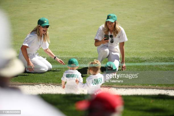 Masters Preview Jillian Stacey wife of Keegan Bradley and Wendy Honner wife of Shane Lowry with their babies during Par 3 Contest on Wednesday at...