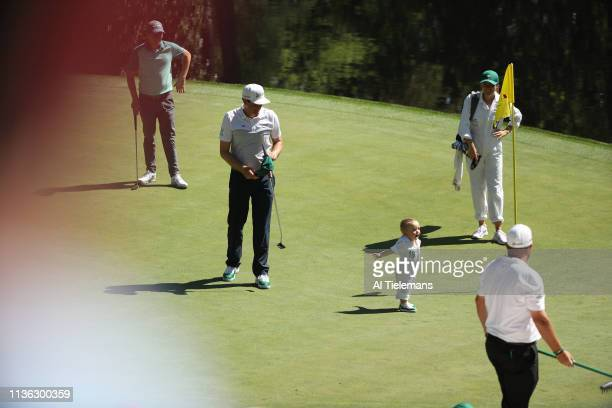 Masters Preview Keegan Bradley with his wife Jillian Stacey and their son Logan Bradley during Par 3 Contest on Wednesday at Augusta National Augusta...