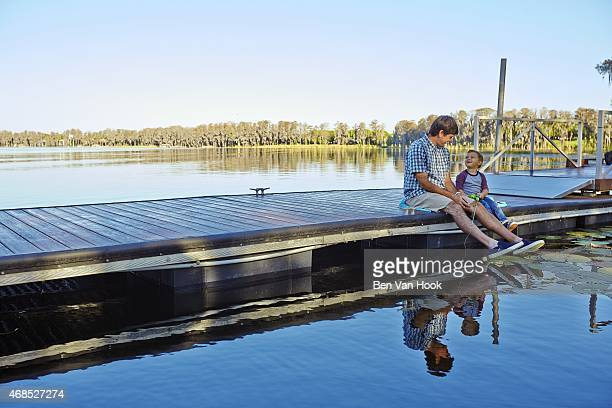 Masters Preview: Portrait of Bubba Watson fishing with his son Caleb during photo shoot on Lake Louise at Isleworth G&CC. Windermere, FL 3/16/2015...