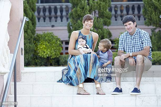Masters Preview Portrait of Bubba Watson with his family wife Angie son Caleb and daughter Dakota during photo shoot at Isleworth GCC Windermere FL...