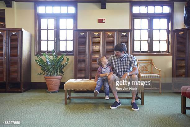 Masters Preview Portrait of Bubba Watson with his son Caleb during photo shoot in the men's locker room at Isleworth GCC Windermere FL CREDIT Ben Van...