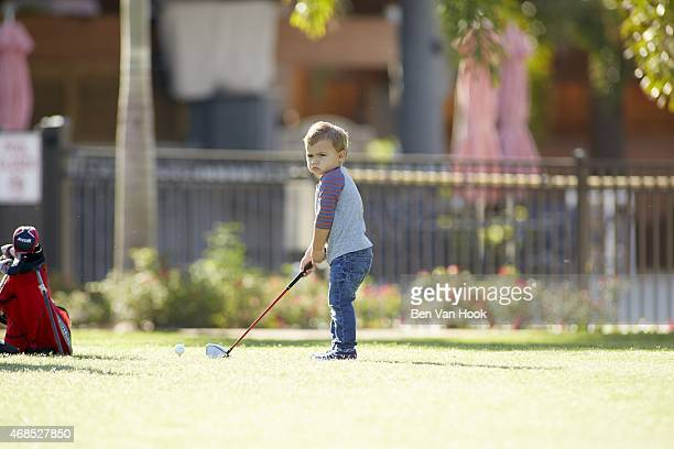Masters Preview: Portrait of Caleb Watson, son of Bubba Watson, drive during photo shoot at Isleworth G&CC. Windermere, FL 3/16/2015 CREDIT: Ben Van...