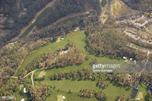 Masters Preview Scenic aerial view of Amen Corner No 11 hole No 12 hole No 13 hole No 14 hole and No 15 hole at Augusta National Augusta GA 3/20/2010...