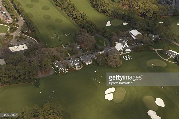 Masters Preview Scenic aerial view of clubhouse with No 9 green and No 18 green at Augusta National Augusta GA 3/20/2010 CREDIT Sports Illustrated