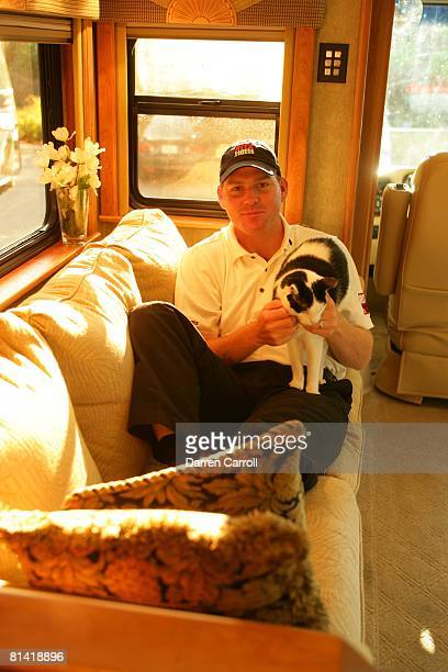 Golf: Masters Rookies, Casual portrait of Troy Matteson with cat, animal in RV motor coach trailer during PODS Championship at Innisbrook Resort &...