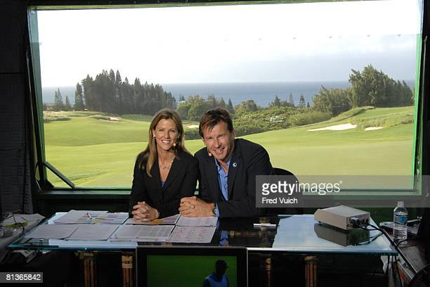 Golf Mercedes Championship Golf Channel media announcers Kelly Tilghman and Nick Faldo in CBS studio on Wednesday at Kapalua Plantation Maui HI...