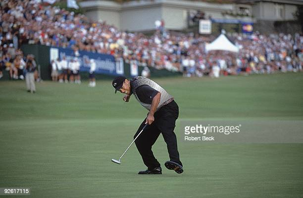 Mercedes Championship: Tiger Woods victorious after making eagle putt on Sunday at Plantation Course of Kapalua Resort. Lahaina, HI 1/9/2000 CREDIT:...