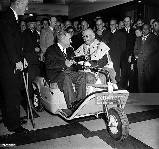 October 1958 St Andrews Scotland Legendary American golfer Bobby Jones is pictured receiving the Freedom of St Andrews sitting in his special golf...