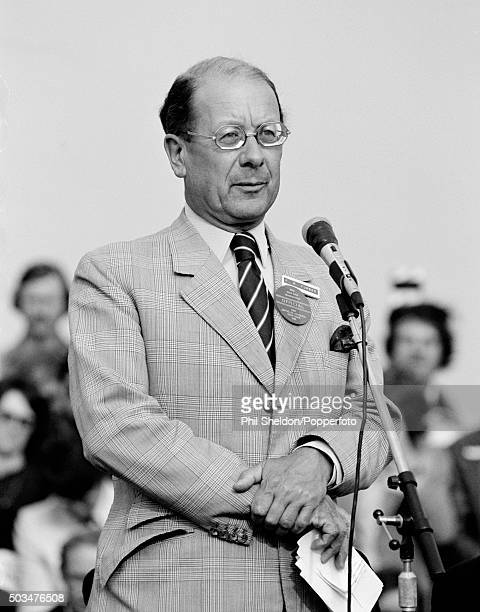 Golf official Bobby Furber speaking during the presentation ceremony following the British Open Golf Championship held at the Royal St George's Golf...