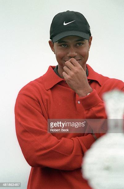 Pebble Beach National Pro Am Closeup of Tiger Woods victorious after winning tournament on Monday at Spyglass Hill GC View of trophy in foreground...