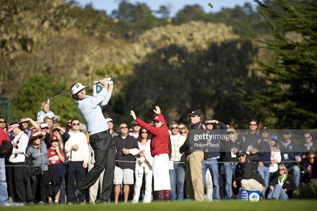 Brandt Snedeker in action, drive during Sunday play at Pebble Beach Golf Links. Robert Beck F58 )