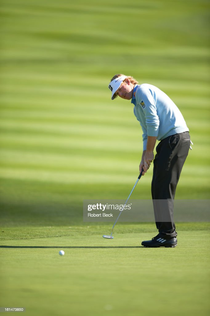 Brandt Snedeker in action, putt during Sunday play at Pebble Beach Golf Links. Robert Beck F27 )