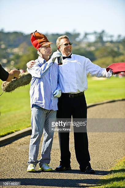 Pebble Beach National ProAm Celebrity actor Bill Murray posing with bartender and beer during Saturday play at Pebble Beach Golf LinksPebble Beach CA...