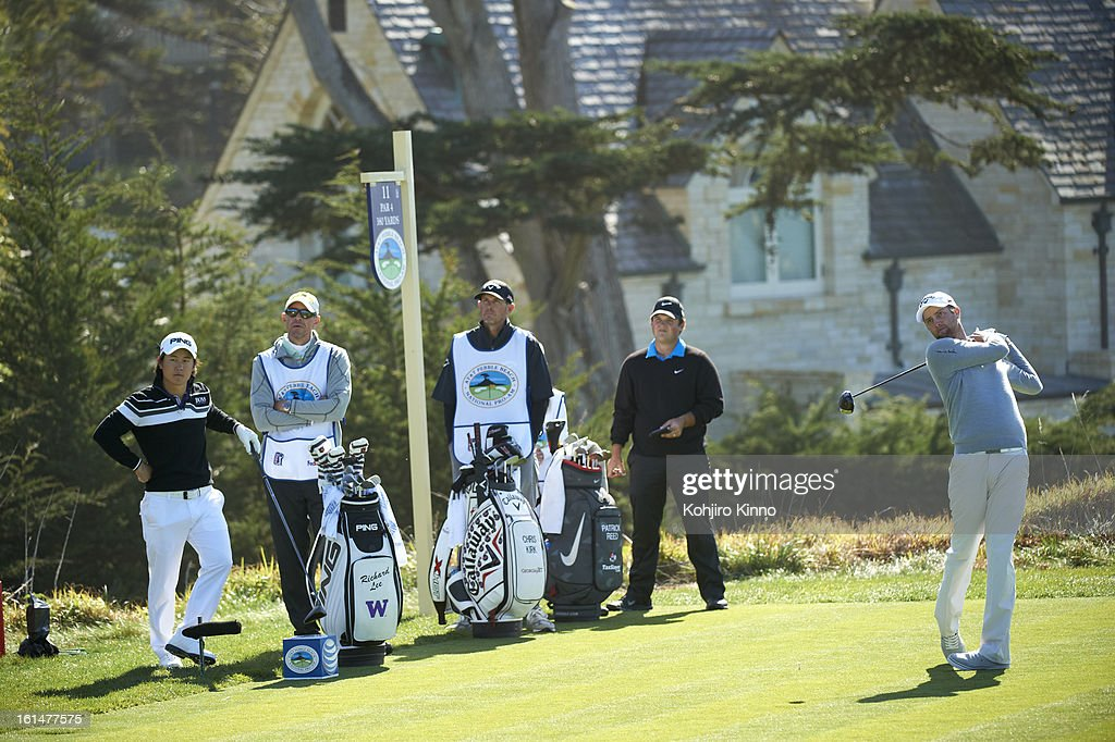 Chris Kirk in action, drive from No 11 tee during Sunday play at Pebble Beach Golf Links. Kohjiro Kinno F175 )
