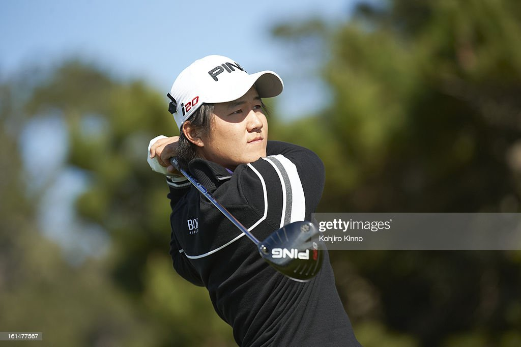 Closeup of Richard Lee in action, drive during Sunday play at Pebble Beach Golf Links. Kohjiro Kinno F142 )