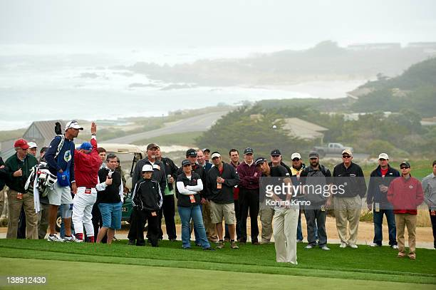 Pebble Beach National ProAm Dustin Johnson in action from hole No 2 during Friday play at Spyglass Hill GC Pebble Beach CA CREDIT Kohjiro Kinno
