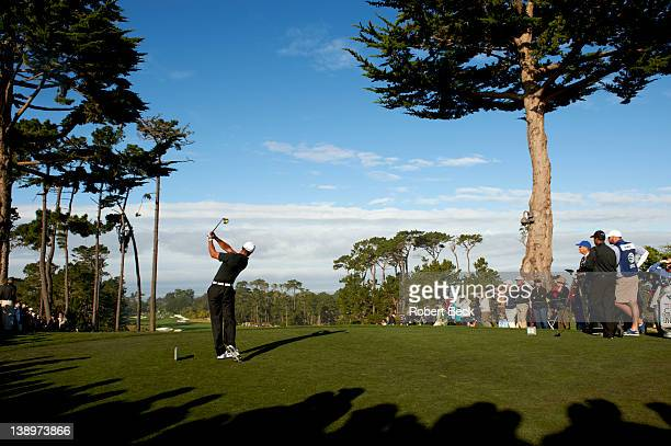 Pebble Beach National ProAm Rear view of Tiger Woods in action during Friday play at Spyglass Hill GC Pebble Beach CA CREDIT Robert Beck