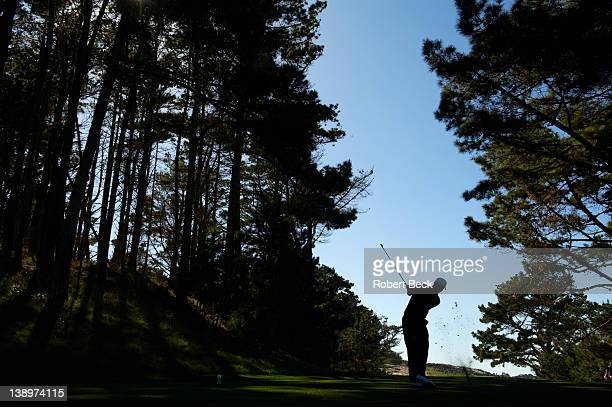 Pebble Beach National ProAm Rear view of Tiger Woods in action during Thursday play at Spyglass Hill GC Pebble Beach CA CREDIT Robert Beck